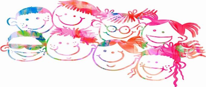 children water colour graphic with smiley faces