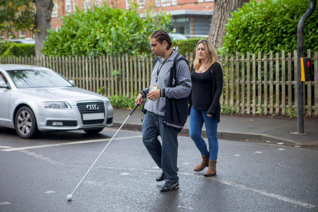 QAC student using his cane
