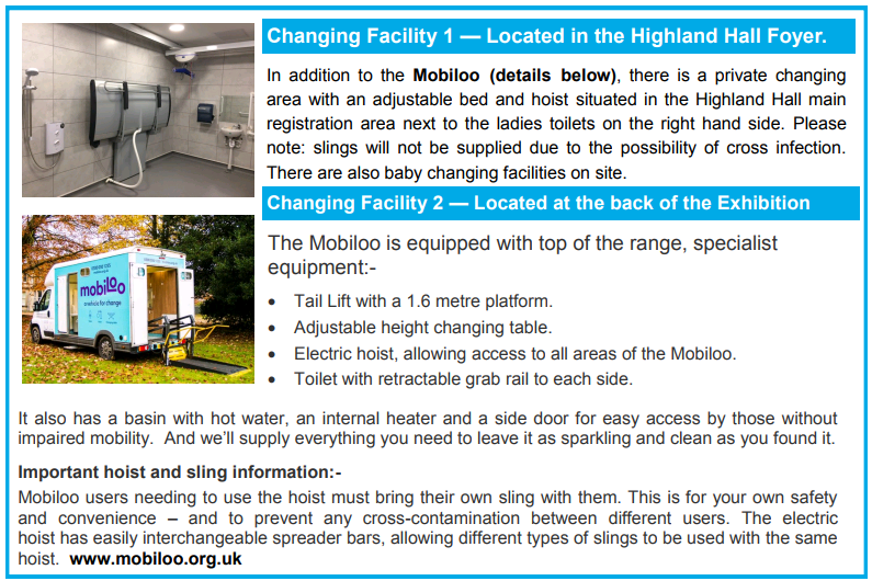 From showguide Scotland changing room mobiloo