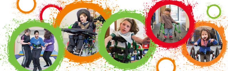 the move programme header of disabled children smiling in colourful circles