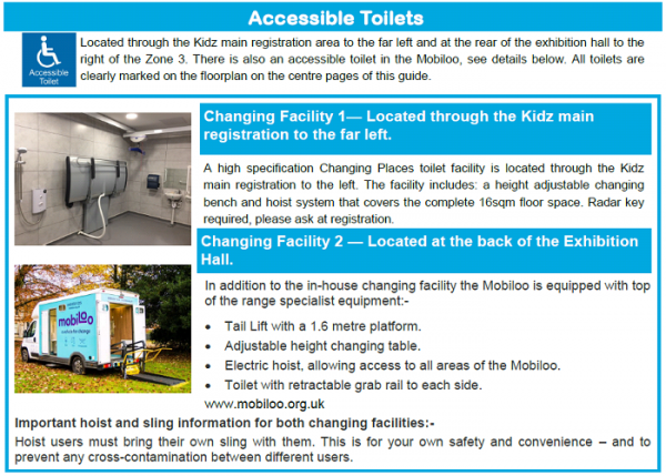 accessible toilets advert including info about mobiloo