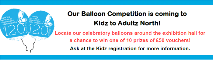 120 years balloons competition graphic