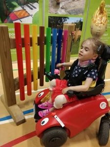 Carmela in buggy at kidz to adultz exhibition