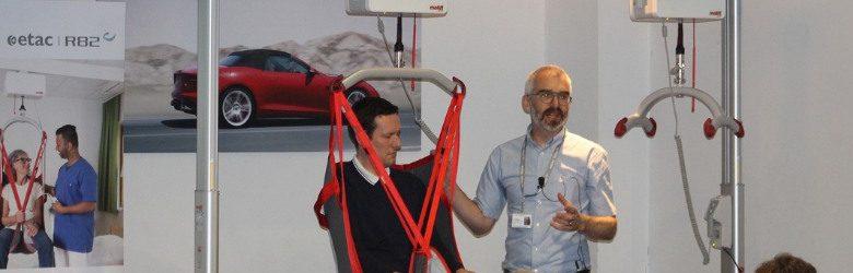 molift demonstrating safe hoisting of disabled children