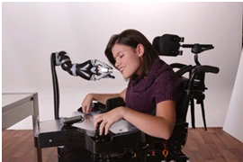 young woman in robotic arm chair