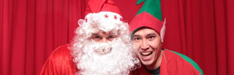 santa and elf inside photo booth