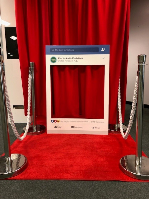 social media frame outside photo booth curtain